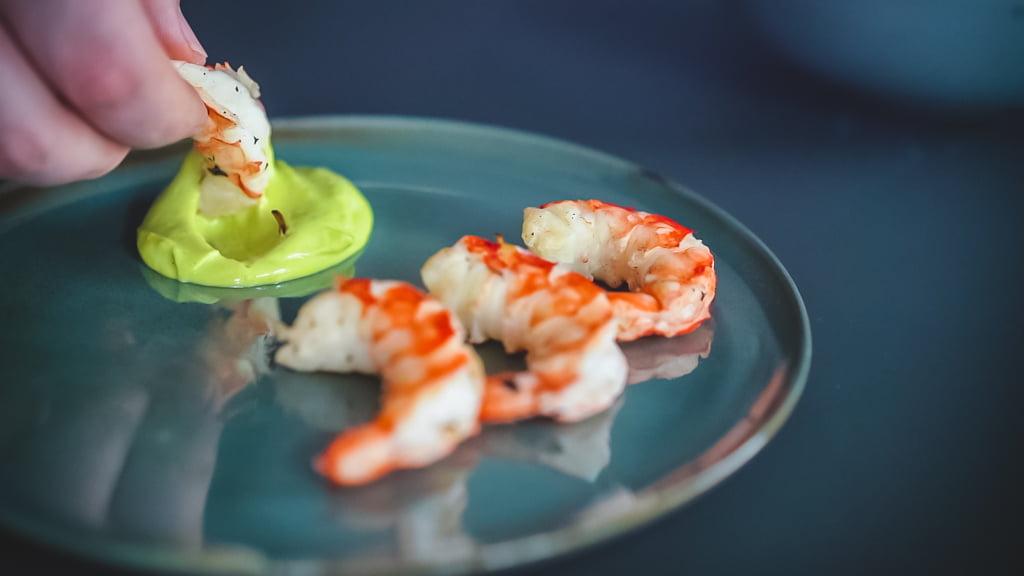 Garnelen mit Wasabi-Mayonnaise